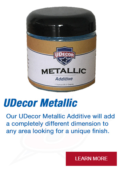 Our UDecor Metallic Additive will add a completely different dimension to any area looking for a unique finish.