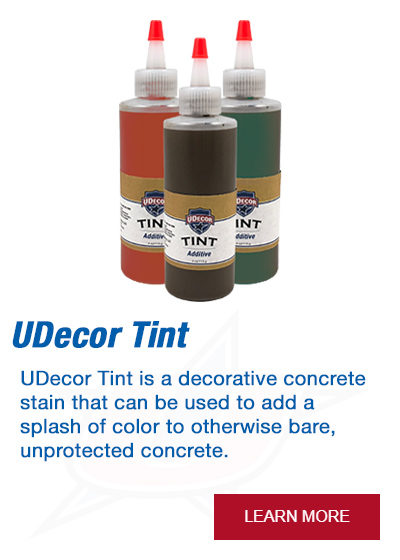 UDecor Tint is a decorative concrete stain that can be used to add a splash of color to otherwise bare, unprotected concrete.