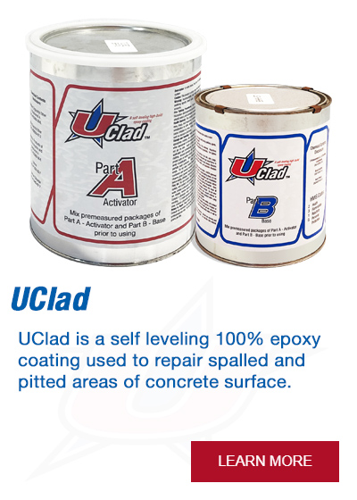 UClad is a self leveling 100% epoxy coating used to repair spalled and pitted areas of concrete surface.