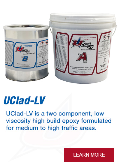 UClad-LV is a two component, low viscosity high build epoxy formulated for medium to high traffic areas.