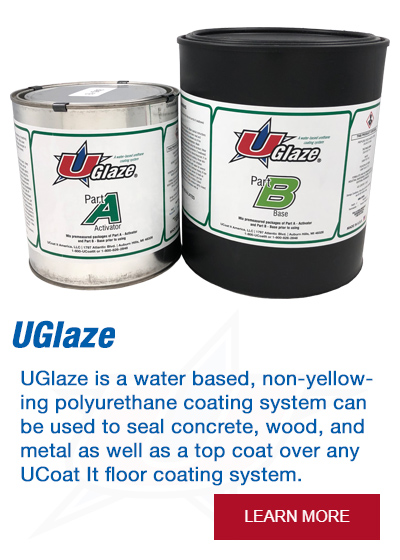 UGlaze is a water based, non-yellowing polyurethane coating system that can be used to seal concrete, wood, and metal as well as a top coat over any UCoat It floor coating system.