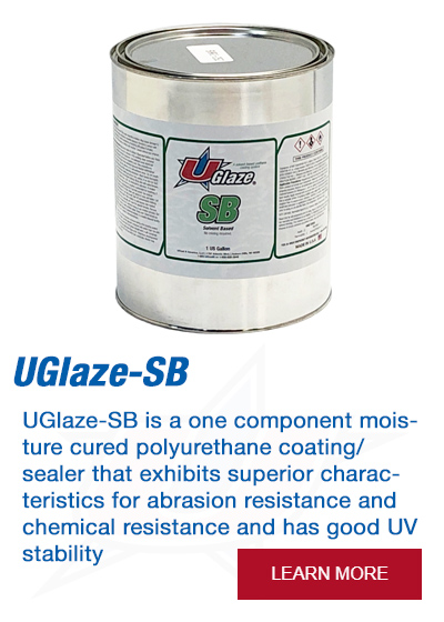 UGlaze-SB is a one component moisture cured polyurethane coating/sealer that exhibits superior characteristics for abrasion resistance and chemical resistance and has good UV stability.