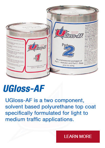 UGloss-AF is a two component, solvent based polyurethane top coat specifically formulated for light to medium traffic applications.