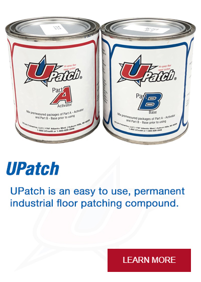 UPatch is an easy to use, permanent industrial floor patching compound.