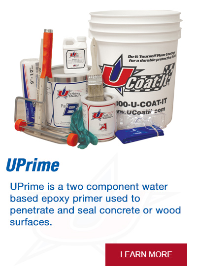 UPrime is a two component water based epoxy primer used to penetrate and seal concrete or wood surfaces.